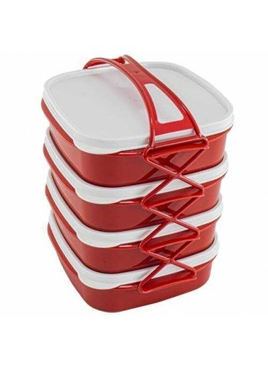 Qlux Qlüx L-765 Tetra 4 Katlı Beslenme Kutusu Kırmızı Renkli